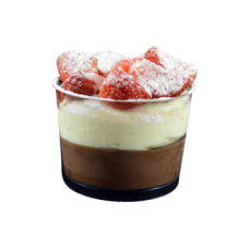 chocolate mousse with patisserie cream and strawberries glass