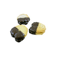 rounded petit four with chocolate topping